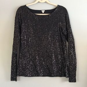 J. Crew Black Sequence Top